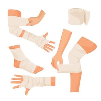 다친 인체 부위의 탄성 붕대 세트.