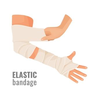 Elastic medical bandage wrapped around hurt human hand.