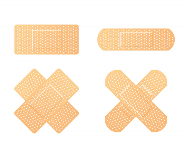 Elastic medical plasters. adhesive bandage, called a sticking plaster collection.