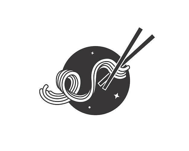 箸で弾力性のある麺落書き
