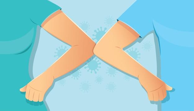 肘バンプの概念男性と女性が挨拶のために肘を打つ