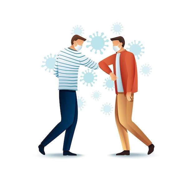 Elbow bump concept safe greeting