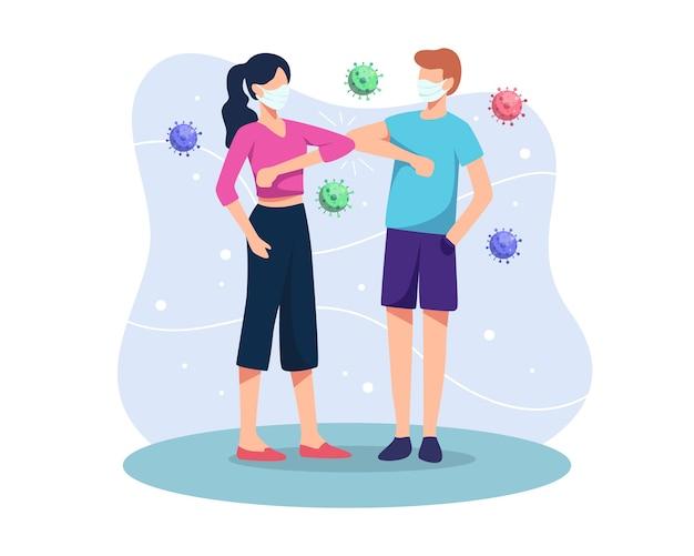 팔꿈치 인사말 개념 그림입니다. 사람들은 코로나 바이러스 확산으로부터 보호하기 위해 거리를 유지하고 신체 접촉, 악수 또는 손 접촉을 피합니다. 새로운 일반 인사 제스처. 플랫 스타일로