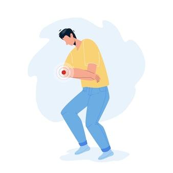 Боль в локте ревматизм грустно молодой человек вектор. боль в локте или судорога страдает мальчик, проблема со здоровьем. персонаж с травмой руки или мышечным воспалением плоский мультфильм иллюстрации