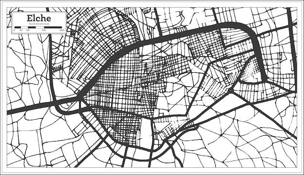 복고 스타일 elche 스페인 도시 지도입니다. 개요 지도. 벡터 일러스트 레이 션.