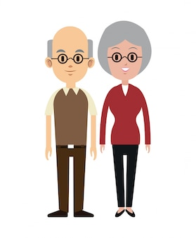 Eldely couple with glasses bald