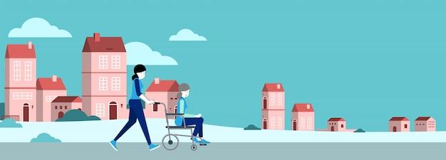 Инвалидная коляска для ухода за престарелыми. векторные иллюстрации.