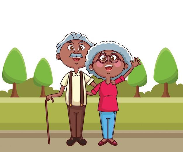 Elder couple cane park
