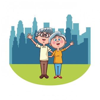 Elder couple city