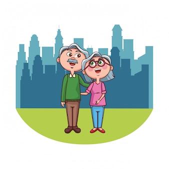 Elder couple grandparents city