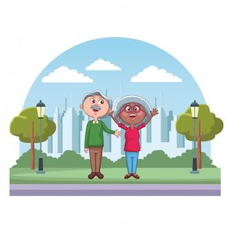 Elder couple grandparents park