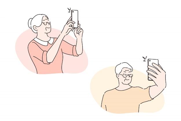 Elder people take selfie, social media set concept