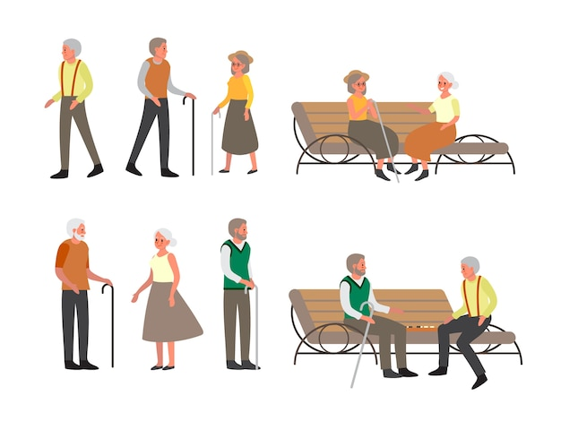 Elder person walk outside set. old people sitting on the bench together. senior man and woman in the park.