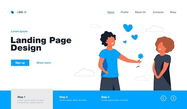 Elder sister giving flower to girl. love, kid, happiness flat  illustration. relationship and family concept website design or landing web page