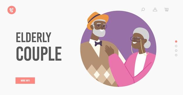 Шаблон целевой страницы для пожилых африканских пар. старшие женатые старые персонажи, взявшись за руки, стоят вместе. люди семейная любовь, свободное время. старик и женщина, любящие отношения. векторные иллюстрации шаржа