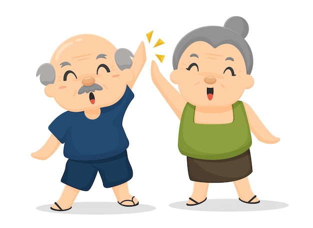 Image result for clip art cheerful old people