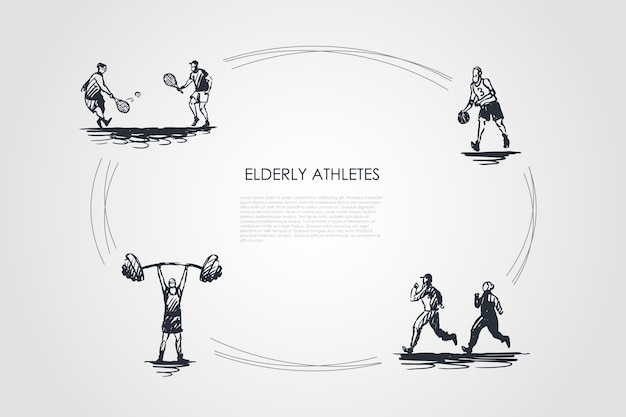 Elderly athletes  concept set illustration