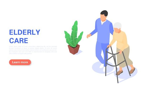 Целевая страница по уходу за пожилыми людьми. медперсонал помогает пожилой женщине ходить с ходунками.