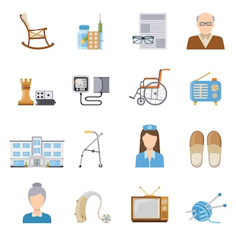 Elderly care in nursing home icons