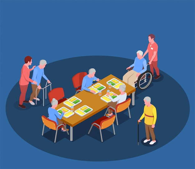 Elderly care in nursing home isometric illustration with residents meeting in dining room with help of their caretakers