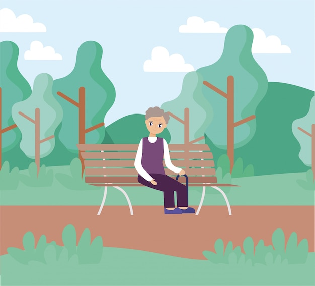 Elderly care, old man sitting in park chair