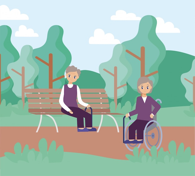 Elderly care, old men sitting in park chair