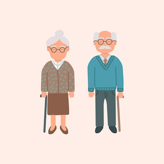 Elderly cartoon couple, grandmother and grandfather isolated