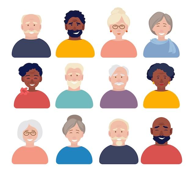 Elderly characters portraits set