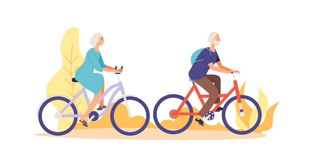 Elderly characters riding bicycles
