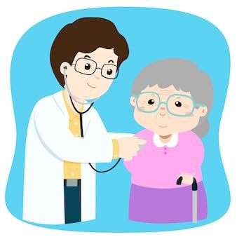Elderly checkup with doctor cartoon vector illustration.