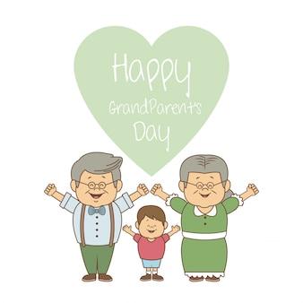 행복 한 조부모의 날을 손으로 노인 부부와 소년
