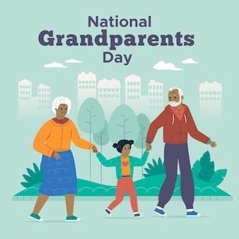 Пожилая пара и ребенок национальный день бабушек и дедушек