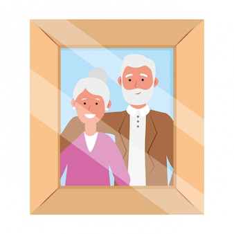 Elderly couple avatar photo frame