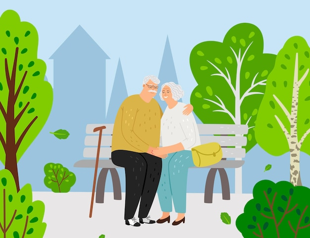 노부부. 도시 공원에서 벤치에 앉아 만화 늙은 여자 남자. 행복 한 조부모 그림