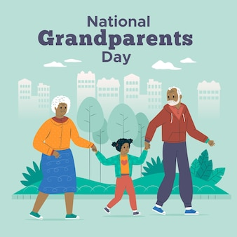Elderly couple and child national grandparents day