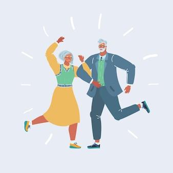 Пожилая пара танцует на вечеринке