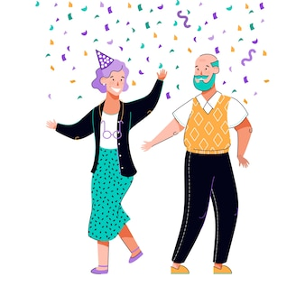 Elderly couple dancing at party