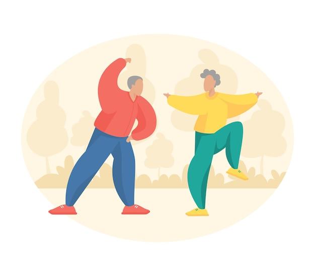 야외에서 요가 운동을 하는 노인 부부. 만화 캐릭터 노인과 여성이 피트니스 활동을 하고 있습니다. 평면 벡터 일러스트 레이 션