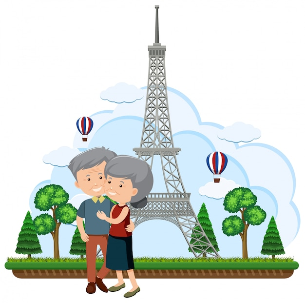 Elderly couple in front of the eiffel tower