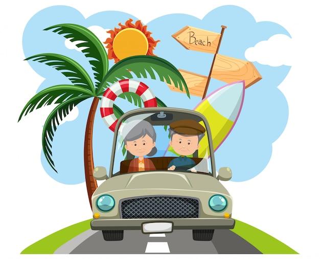 Elderly couple going on a roadtrip