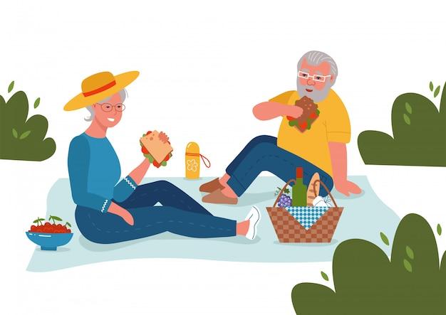 노인 부부 피크닉입니다. 흰색 배경에 행복 긴 관계 평면 스케치 그림.
