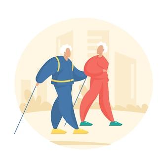 함께 하이킹하는 노인 부부. 막대기로 운동하는 노르딕 워킹. 활동적인 스포츠 산책을 하는 만화 캐릭터 노인과 여자. 플랫 사람들 그림