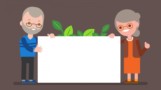 Elderly couple holding blank white board. happy grandparent standing with big white placard. vector cartoon character illustration.