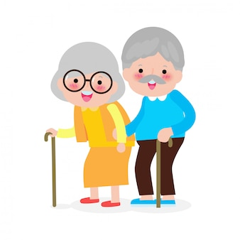 Elderly couple holding hands, happy grandparents, old people, senior in cartoon style isolated on white background  illustration