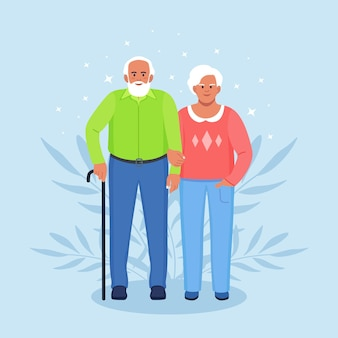 Elderly couple holding hands. seniors grandmother and grandfather together. grandparents. old bearded man and woman. happy family Premium Vector