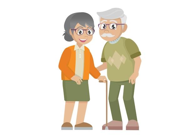 할머니와 할아버지가 함께 손을 잡고 노부부