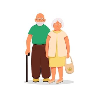 노부부, 노년의 남편과 아내 부부. 벡터 만화 캐릭터입니다. 평면 그림입니다.