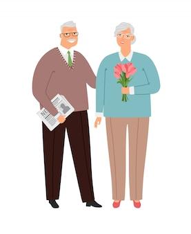 사랑에 노인 부부