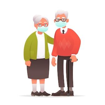 防護マスクの老夫婦。コロナウイルスに対する祖父母。祖母と祖父はウイルスや大気汚染から保護されました。