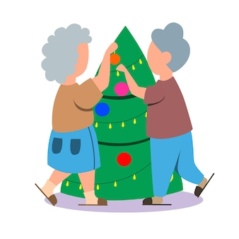 An elderly couple is decorating a christmas tree